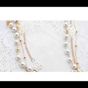 Long Pearl Necklace with  Pendant Sweater Chain